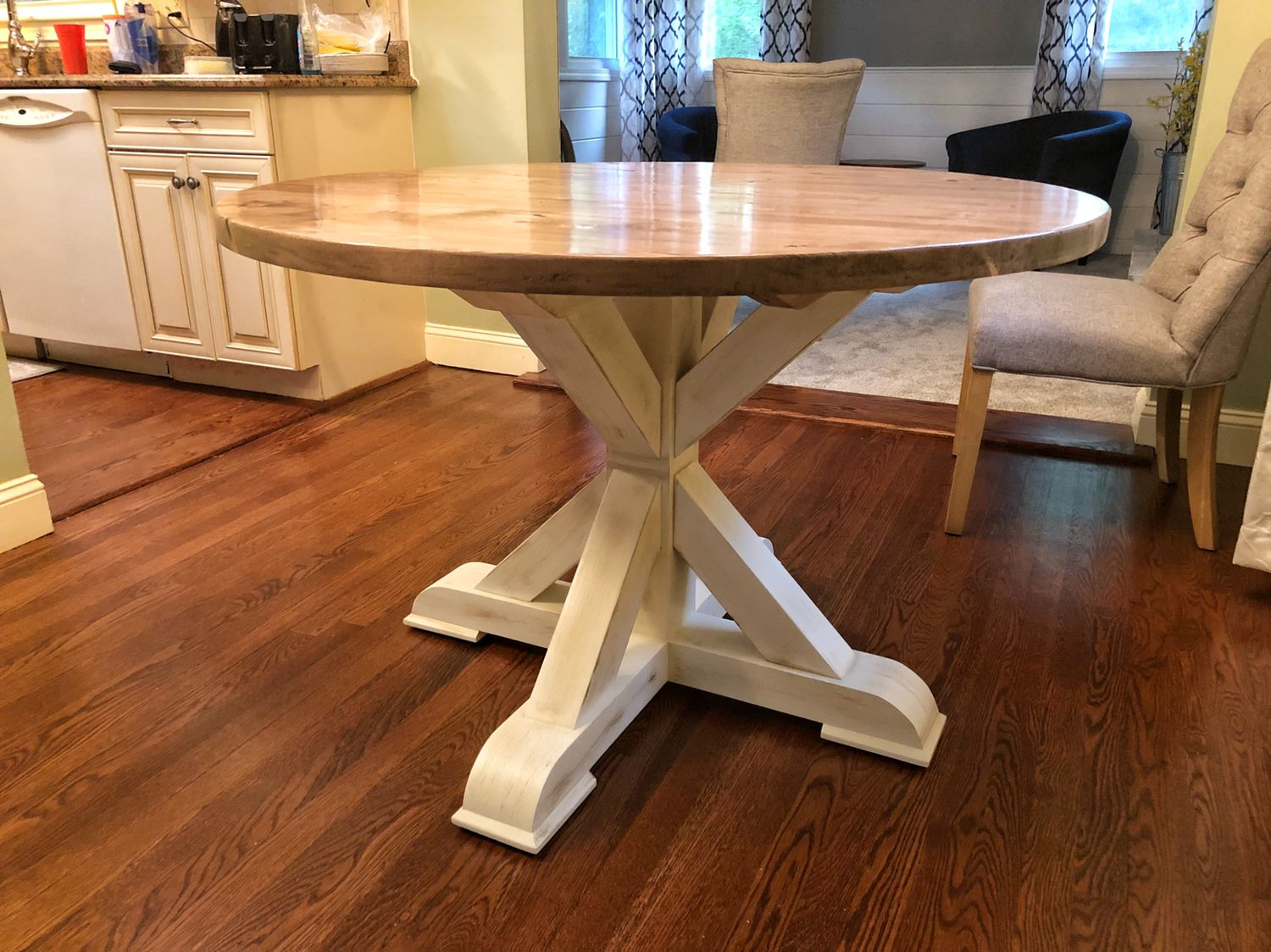 """44"""" round farm table. Base is off white with a java glaze"""