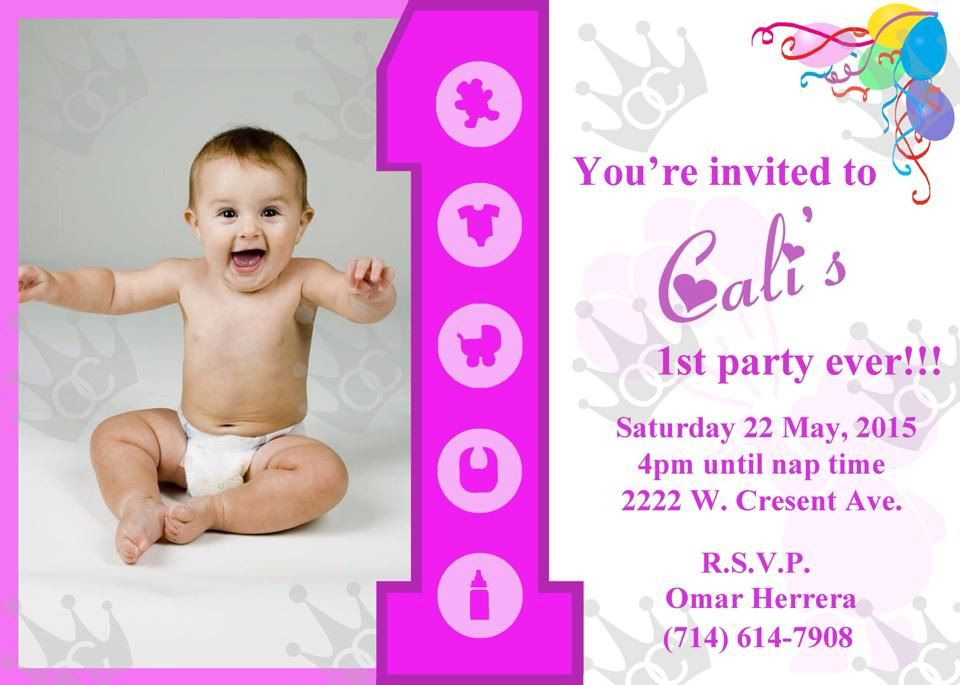 Happy First Birthday Party Invitations Girl Diy By Omarscreations714 On Etsy Happy First Birthday First Birthday Parties Birthday Invitations