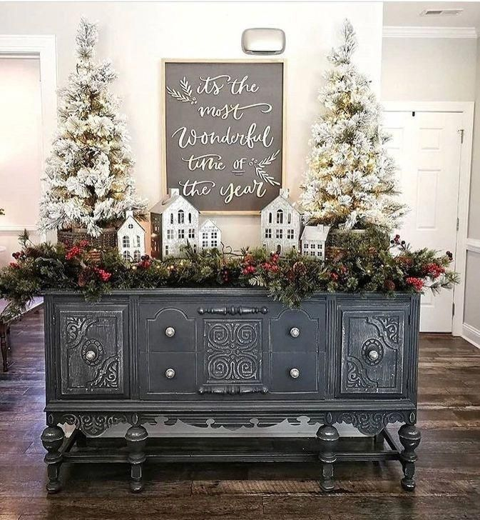 Farmhouse Christmas Decor, Galvanized Christmas Houses, Flocked Christmas Trees, Cottage Christmas Decor, Fixer Upper Christmas, Magnolia Market Holiday Decor, Chalkboard Christmas Decor #magnoliachristmasdecor