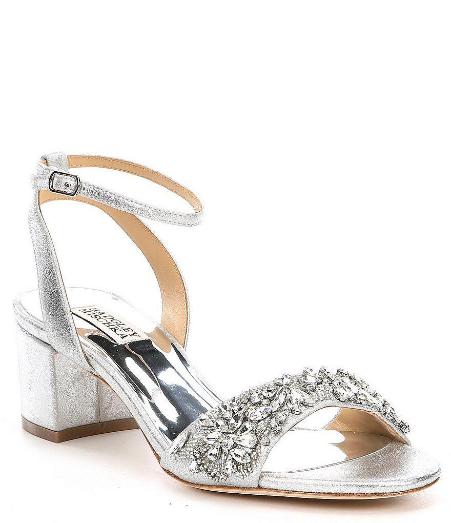 Badgley Mischka Ivanna Metallic Leather Block Heel Dress Sandals | Dillard's