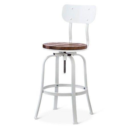 Dakota Adjustable Wood Seat Barstool Threshold Adjustable Bar Stools Bar Stools Industrial Counter Stools