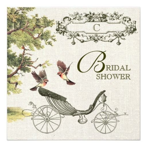 Vintage Design Customizable Bridal Shower Invitation with a Victorian age birds and wedding carriage images and Bride's Monogram. Customize the name, date , text and all details of your Invitation. Matching Wedding Invitation Cards, Save the Date Cards, Wedding Postage Stamps, Thank You Cards and other Wedding Stationery and Wedding Gift Products available in the Vintage Design Category of the yourweddingday store at zazzle.com