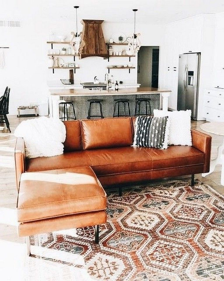21+ Staying Living Room Décor Ideas With Leather Sofa images
