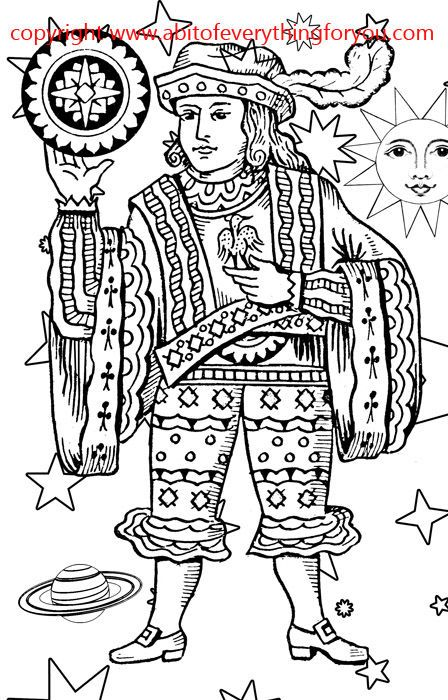 coins man tarot card Coloring Page printables Adult Kids Colouring ...