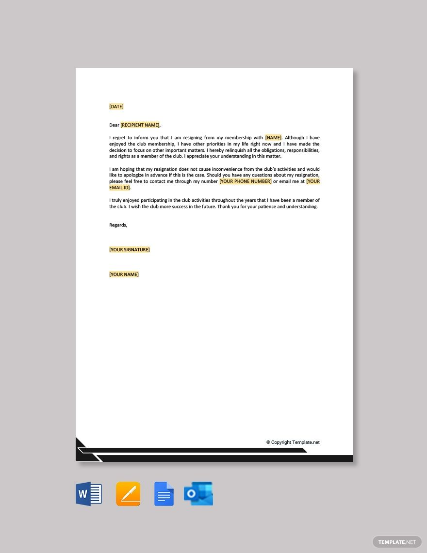 Club membership resignation letter template free pdf