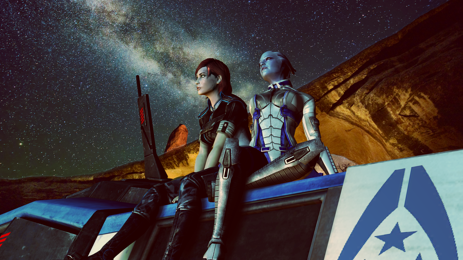 Video Game Mass Effect Liara T Soni Commander Shepard Wallpaper