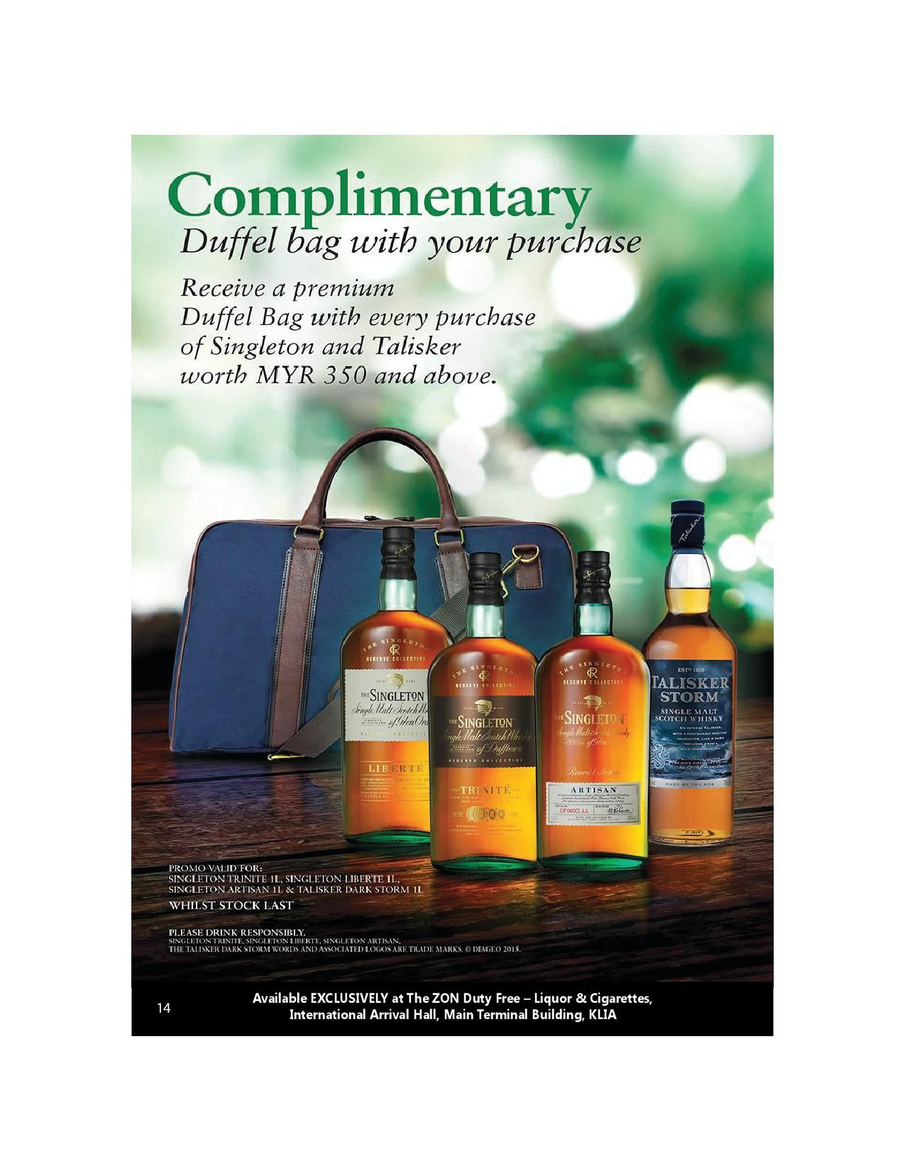 Singelton & Talisker Complimentary Duffel Bag With Your