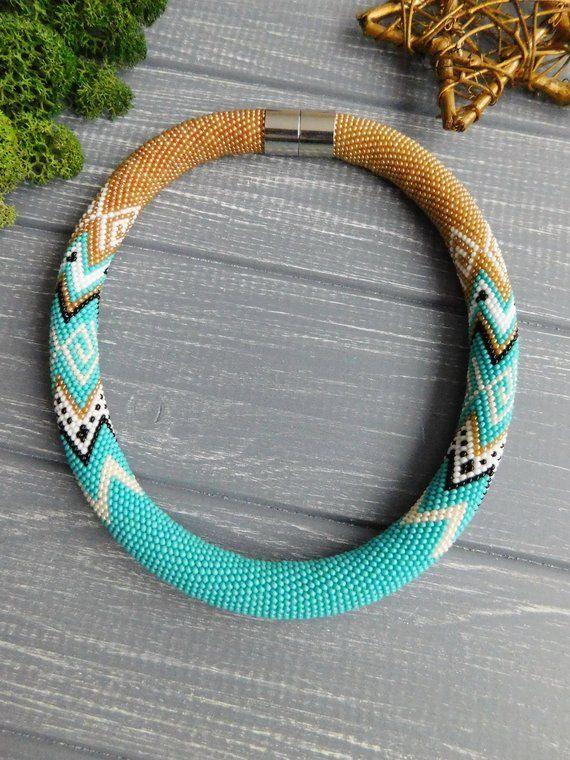 Turquoise necklace Beaded Stylish necklace Copper jewelry Geometric