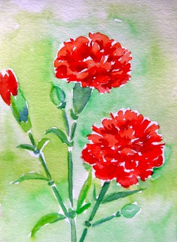 Red Carnations Watercolor Painting By Artist Meltem Kilic