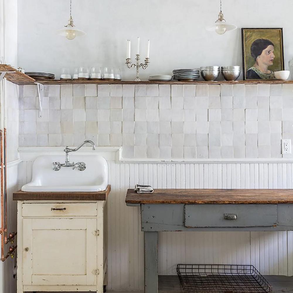 Weathered White Zellige Terracotta Tile 4 X4 X3 8 In 2020 Kitchen Tiles Kitchen Trends Kitchen Design