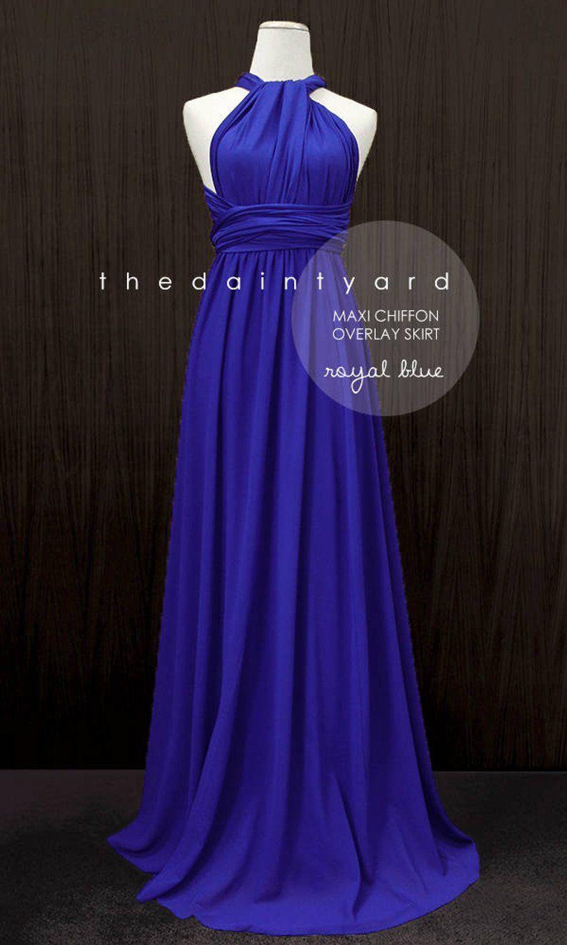 61937a28ca41b TDY Royal Blue Chiffon Overlay Skirt for Maxi Long Convertible | Etsy