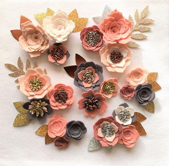 Handmade Wool Felt Flowers Loose Flowers Kelly Green and White Maroon Set of 13 Flowers 3 Leaves Sage Beige Red