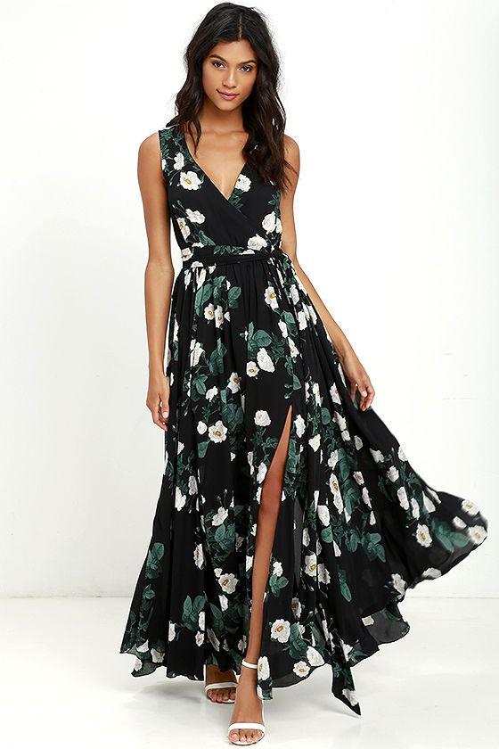 283a6580f72 Magnolia Blooms Black Floral Print Maxi Dress