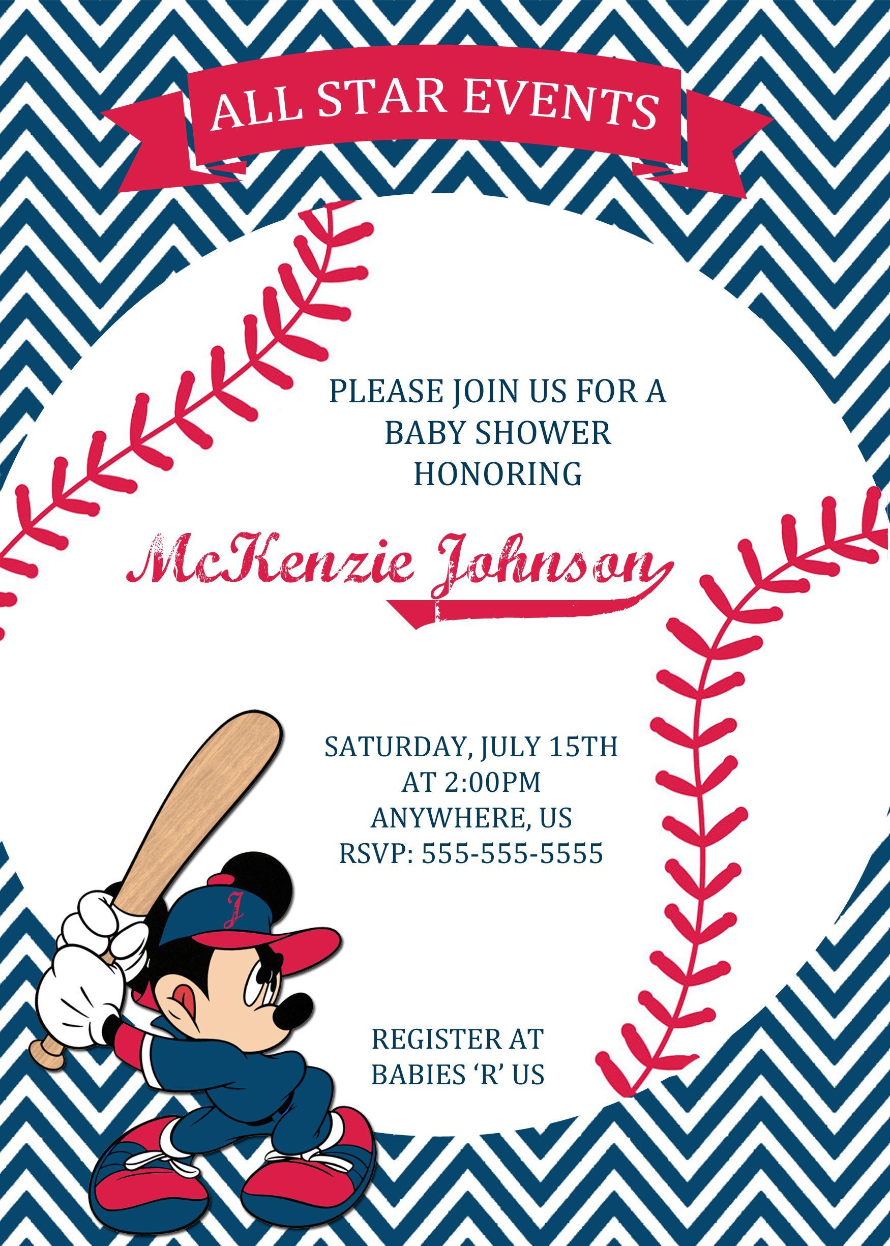 Mickey Mouse Baseball Baby Shower Invitation $8.99 | Baby Shower ...