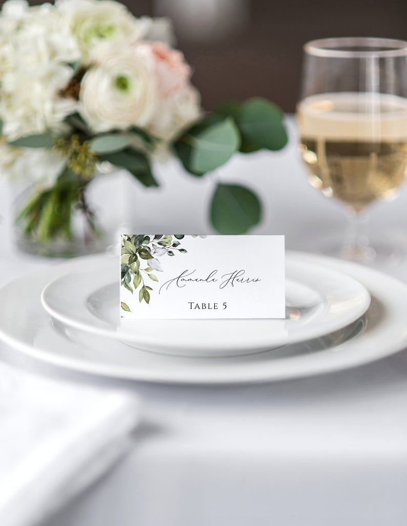 Eucalyptus Place Card Template Download Greenery Wedding Name Etsy Wedding Place Card Templates Wedding Name Cards Wedding Place Cards