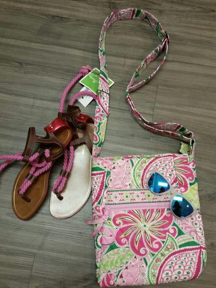 Vera Bradley PINWHEEL PINK Large HIPSTER CROSSBODY Handbag PURSE Strap, NWT~ #VeraBradley