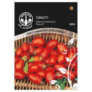 TOMAATTI 'Roma VF' Erityisesti ruoanlaittoon kehitetty tomaattilajike. Sen hedelmät ovat meheviä, mehukkaita ja lähes siemenettömiä.