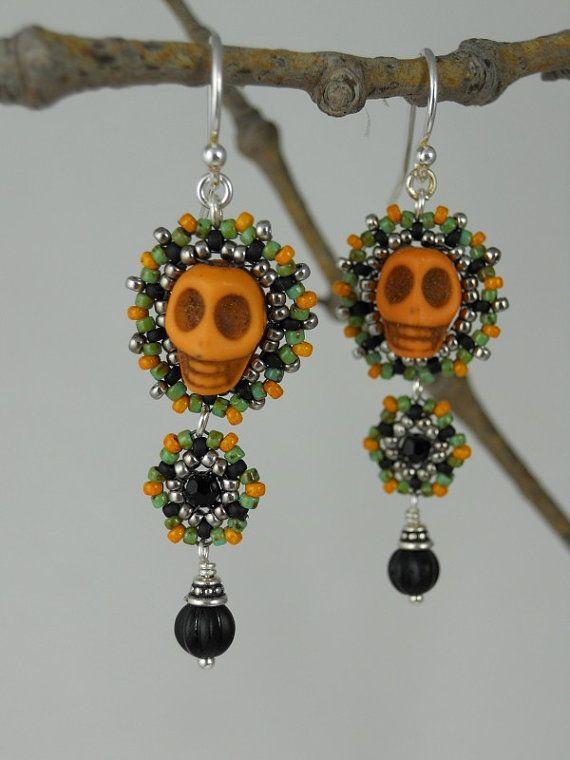 Orange skulls by littlemusedesigns, $48.00