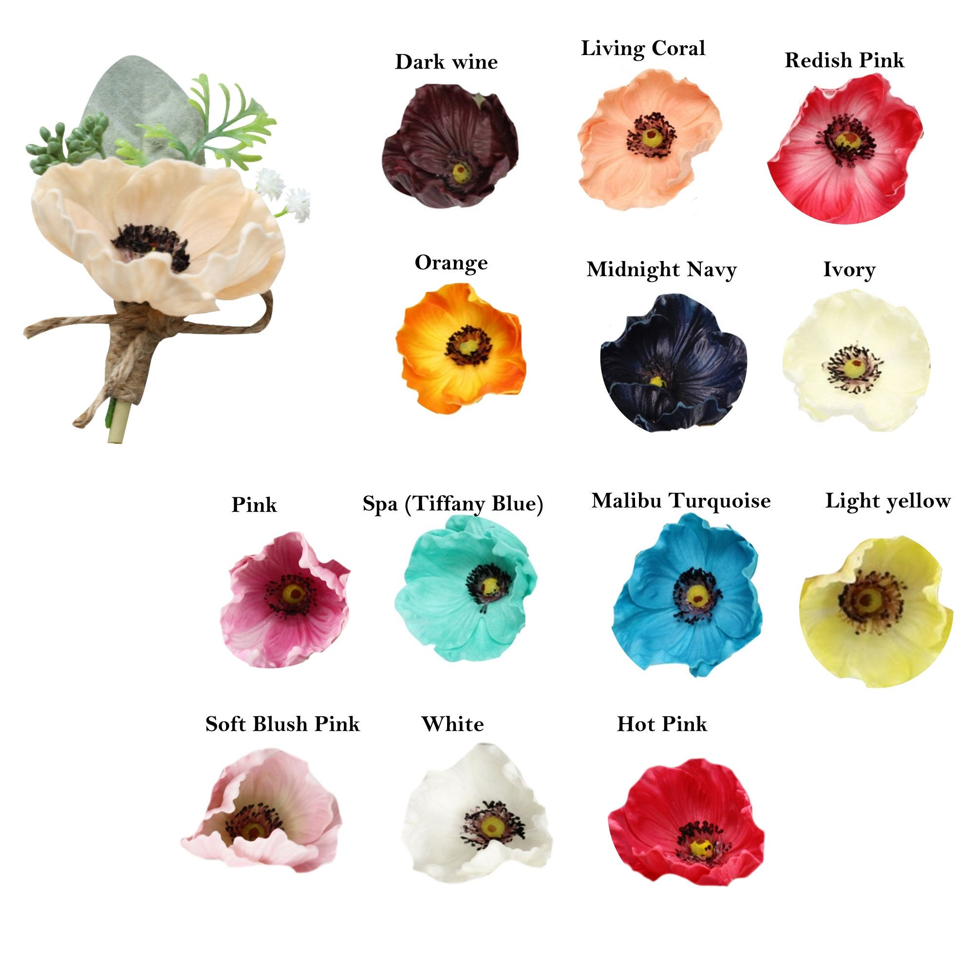 Boutonniere Real Touch Poppy Anemone Lambs Ear Baby Breath Etsy Babys Breath Lambs Ear Boutonniere