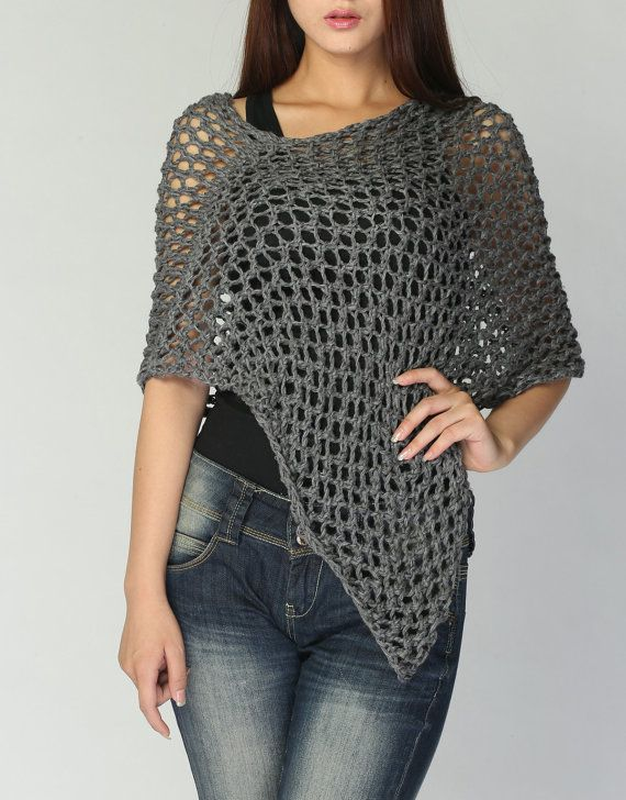 Hand knitted Little cotton poncho knit scarf knit by MaxMelody, $48.00