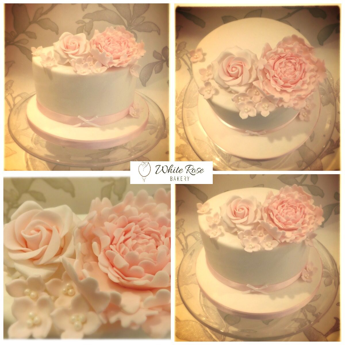 A single tier vintage floral inspired birthday cake with pale pink