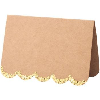 These stylish place cards are crafted with a natural finish paper, with a scallop edge embellished with chunky gold foil. Pack contains 10 place cards. From Meri Meri.