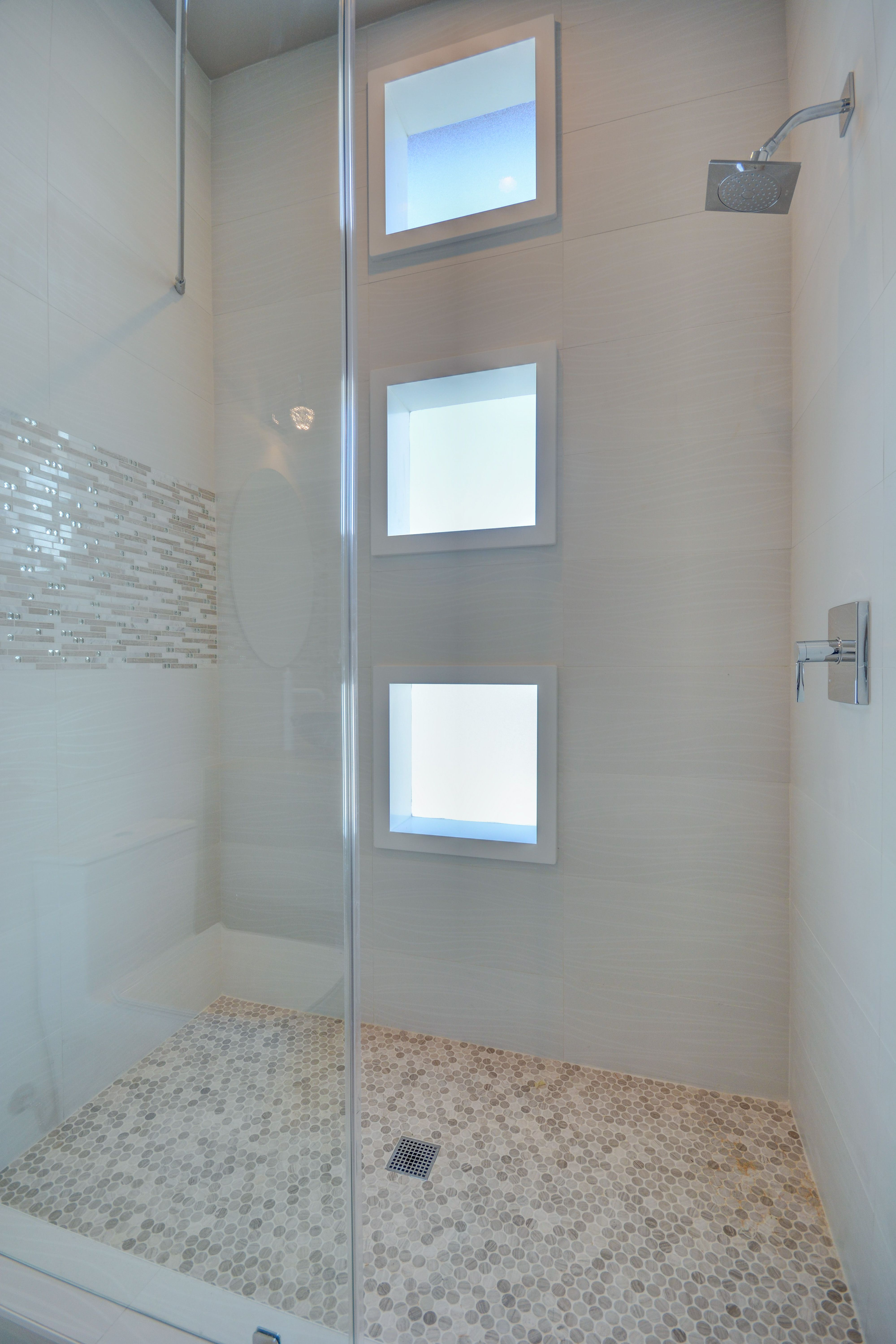 Bathroom Shower Design With White Penny Round Shower Pan Off White Wave Shower Walls And Glam Sto Bathroom Shower Cottage Bathroom Design Ideas Shower Design