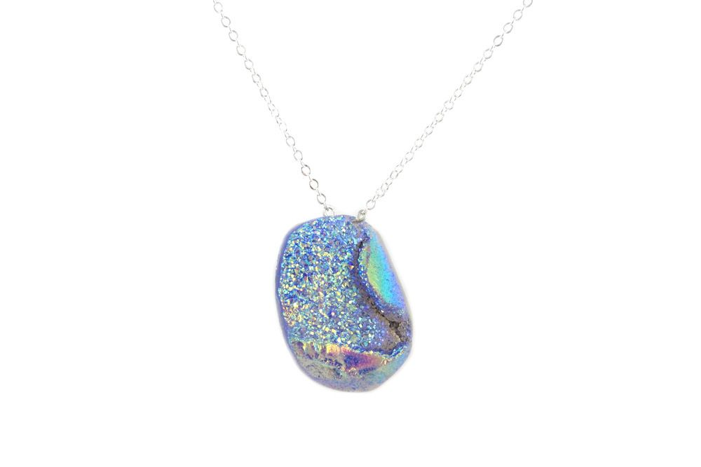 Large Iridescent Oval Druzy Necklace
