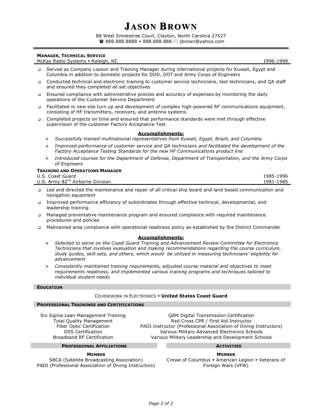 Enterprise Management Trainee Program Resume - http://www ...