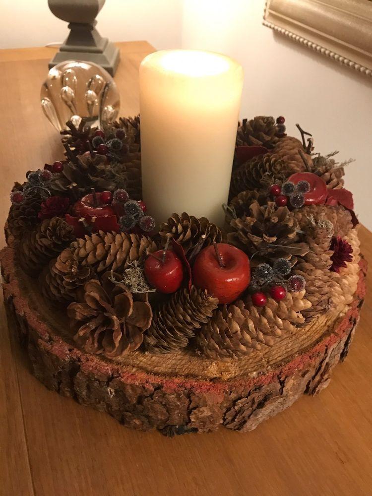 Details About Christmas Wreath Decoration With Real 12 30cm Rustic Log Slice Wedding Wreath Diy Christmas Table Christmas Centerpieces Diy Christmas Wreaths Diy