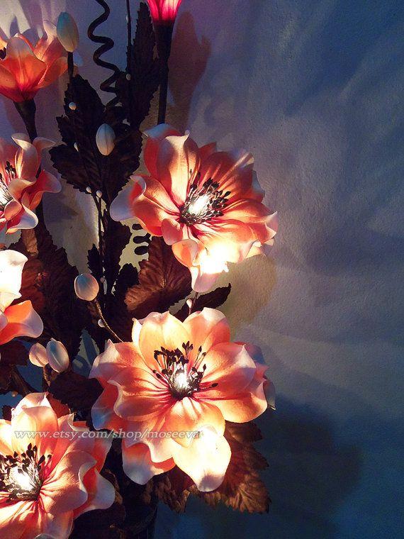 Poppy Flower Lamp Decorative Light Bouquet Coral Red door moseeva ...