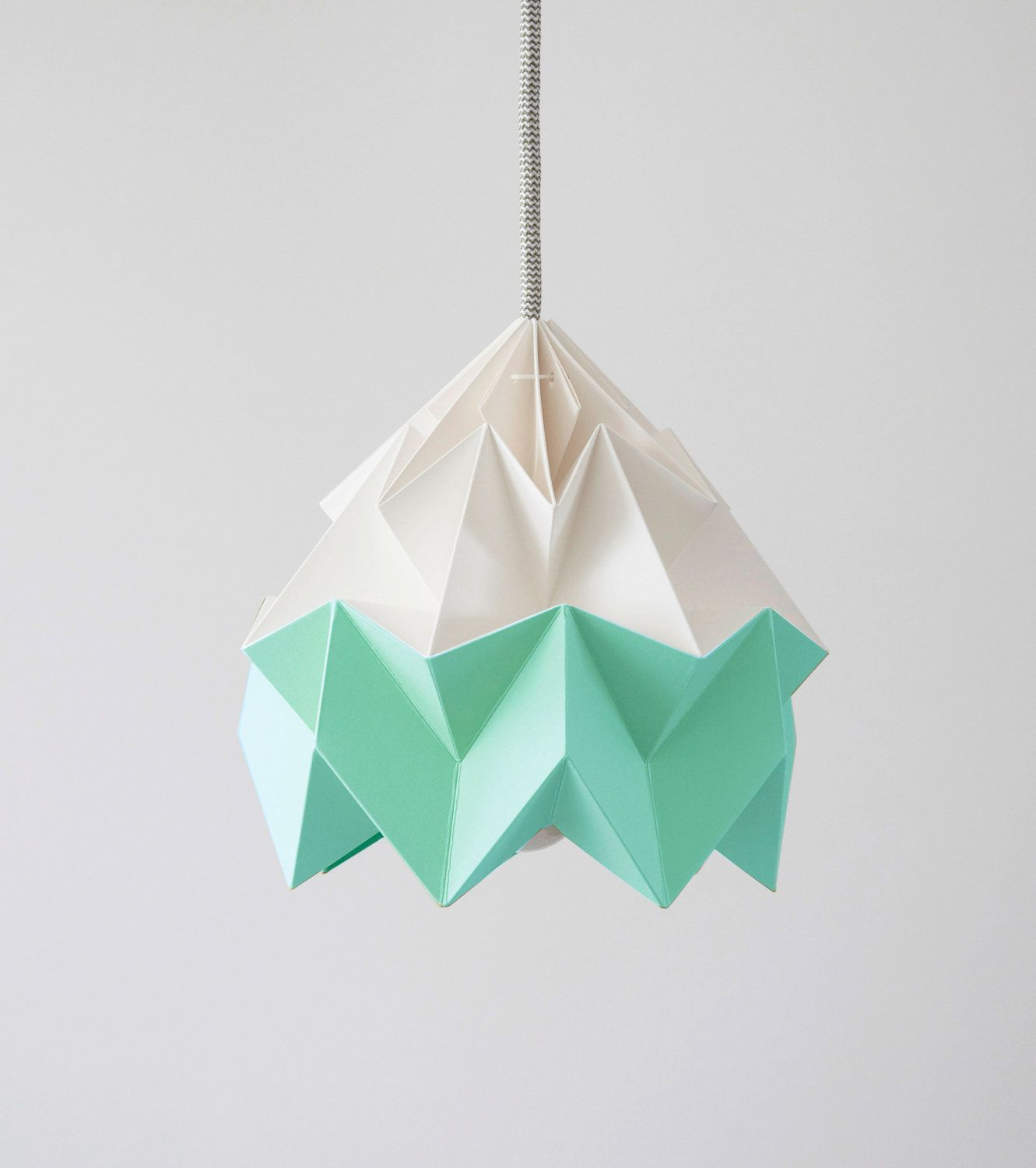 Moth origami lampshade Mint green and white   Origami