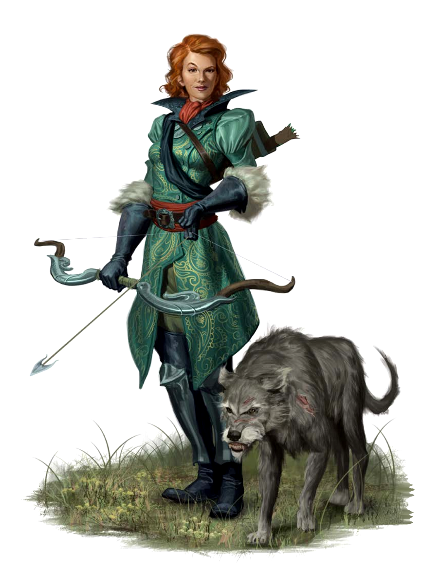 female human hunter with animal companion pathfinder. Black Bedroom Furniture Sets. Home Design Ideas