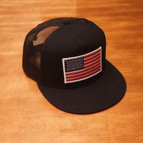 e6fd0111f98 AMERICAN FLAG Black Trucker Hat Snapback by RogueCitizenApparel ...