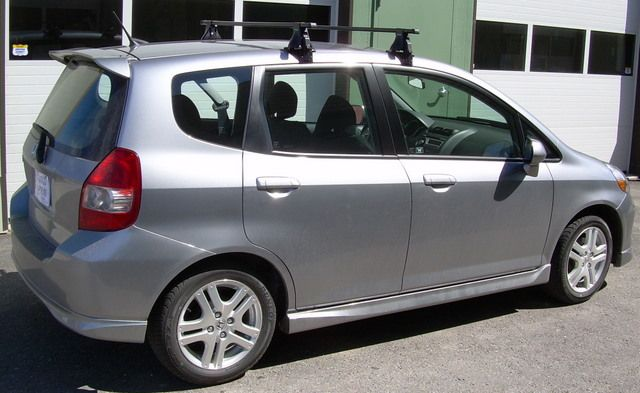 Car Rack Installations Honda Fit With Thule Aero Foot Roof Rack 400xt