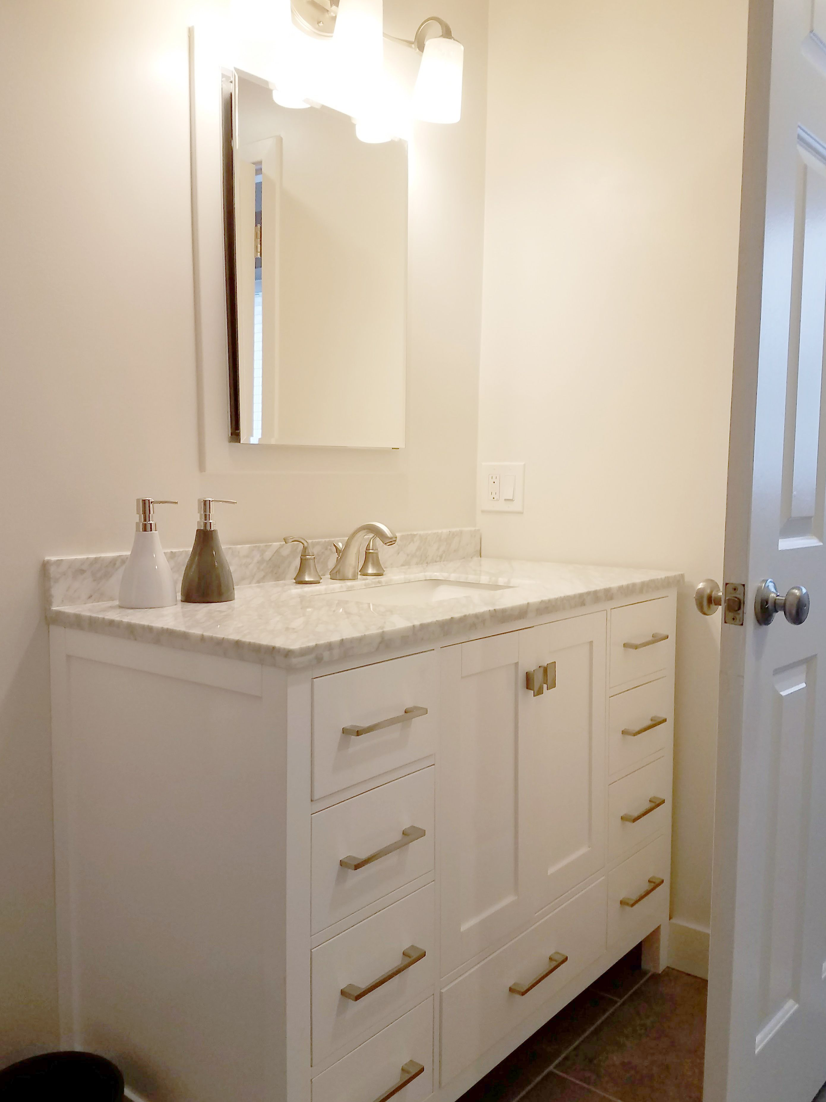Guest Bathroom | White Vanity | Bathroom Design | Coastal Bathroom ...