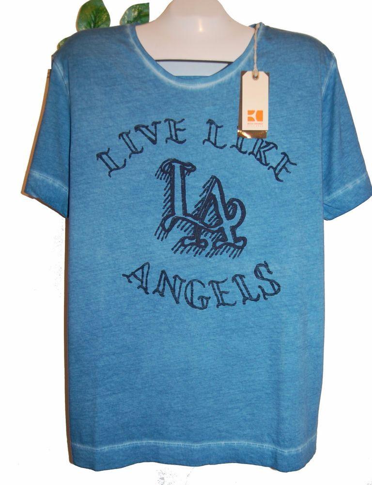 Hugo Boss Pale Blue Graphic Design Cotton Mens T- Shirt Size 2XL Boss  Orange NEW
