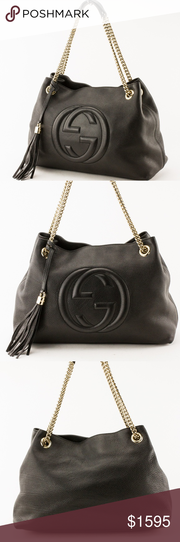 2a67222b14 Gucci Black Leather Soho Gold Chain Strap Tote Bag Gucci Black Leather Soho Chain  Strap Tote