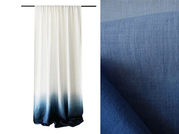 Ombre Curtains Blue Dip Dye Drape Rod Pocket White Linen Unlined Or  Blackout Curtain