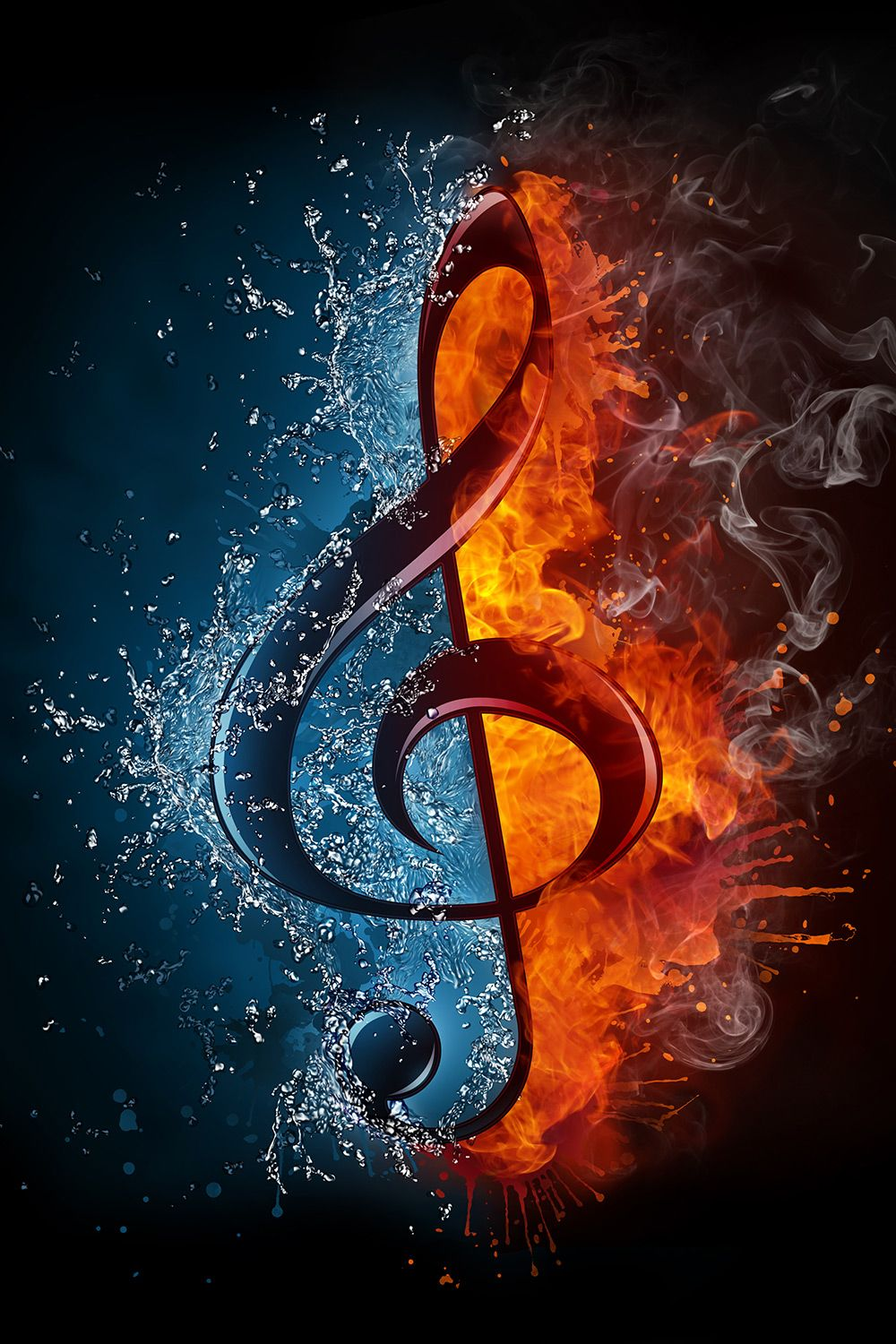 Choose Fire Ice Music Symbol Wallpaper To Create Fantastic Wall Decor In Your Room Or Browse Hundreds Of Other Wallpapers Music Wallpaper Music Art Musical Art