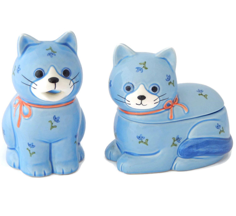 Otagiri Cat creamer and Sugar Bowl Set Blue Kittens Floral