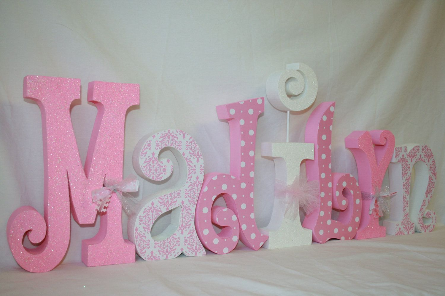girl decor, pink and white, white polka dots, 7 letter set, girls