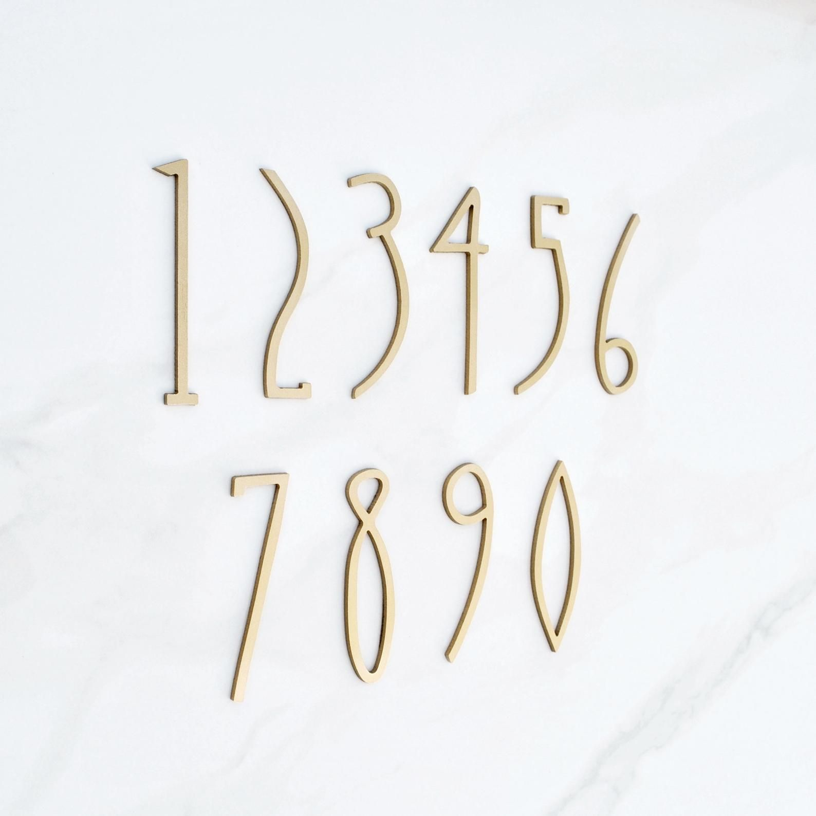 Art Deco House Numbers 4 Inch Gold Color Address Aluminium Antique Style Homedecoryale In 2020 House Numbers Art Deco Home Metal Numbers