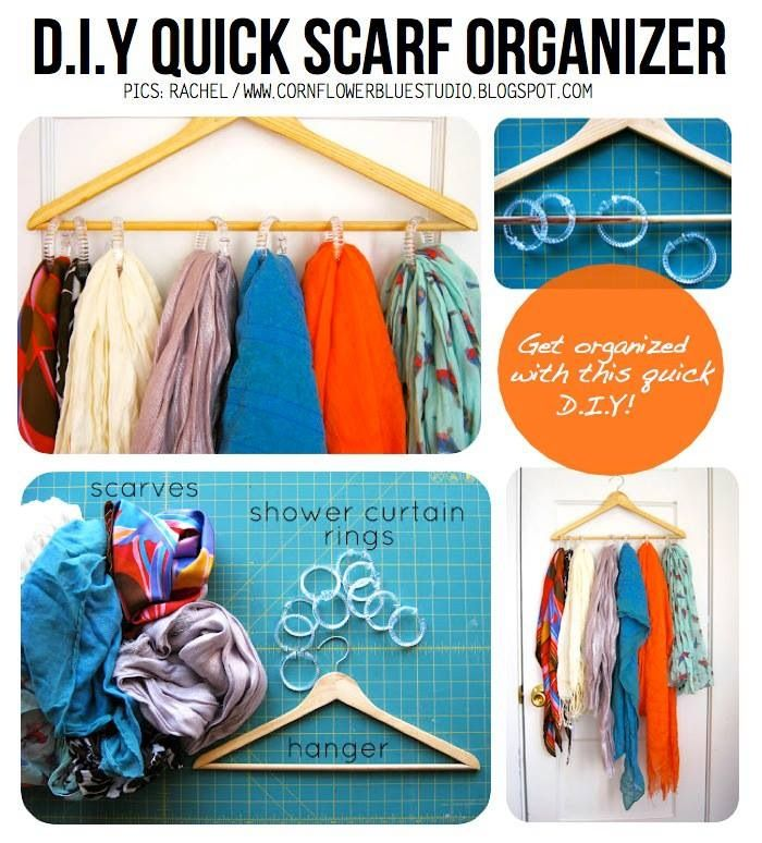 Diy scarf organizer do it yourself pinterest diy scarf hanger diy scarf organizer solutioingenieria Images