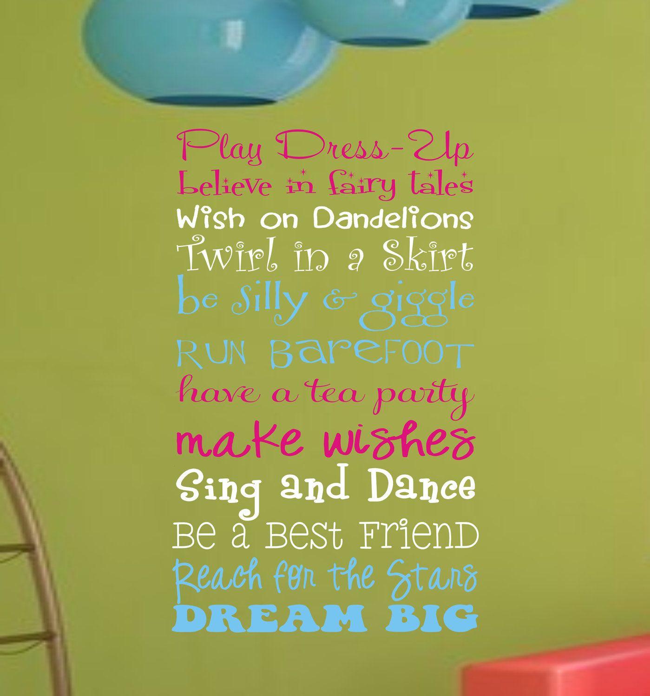 Girls Playroom Wall Decal, Childrens Playroom Wall Art, Childrens ...