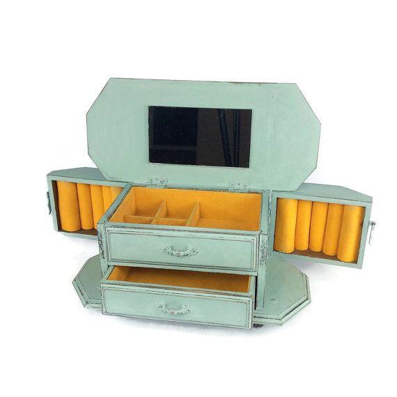 VINTAGE JEWELRY BOX Blue Distressed Wood Jewelry Holder Jewelry