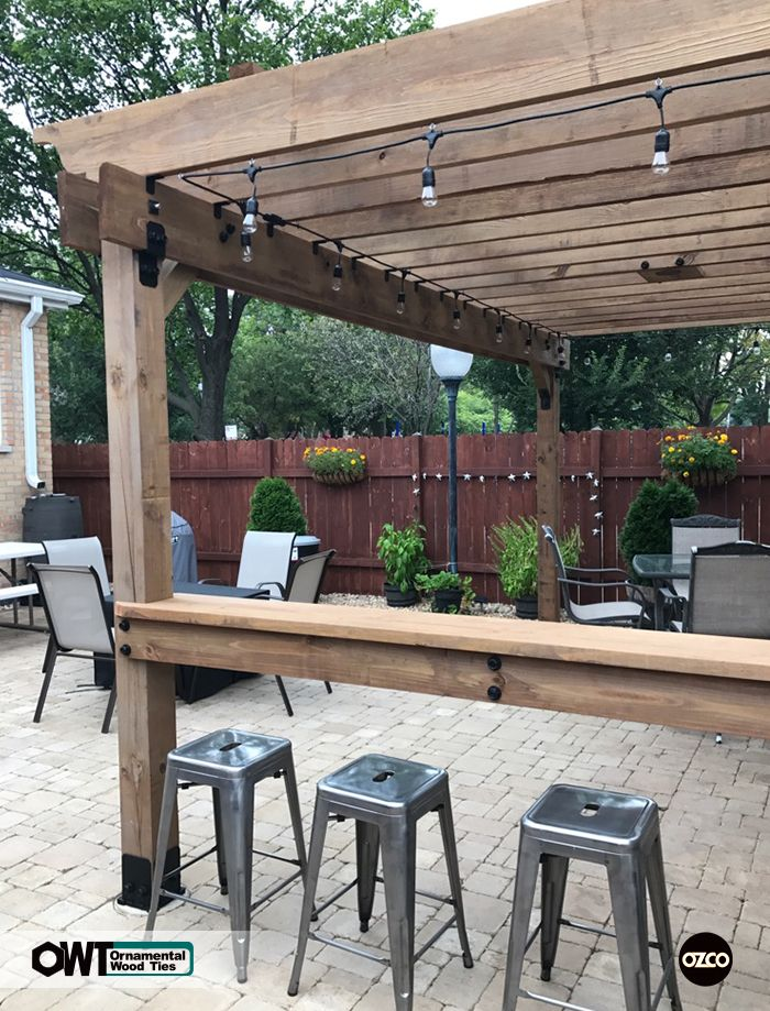 Ozco Building Products Ornamental Wood Ties Owt Pergola With Bar Built With Ozco Owt S In Ironwood Outdoor Pergola Diy Pergola Backyard Pergola
