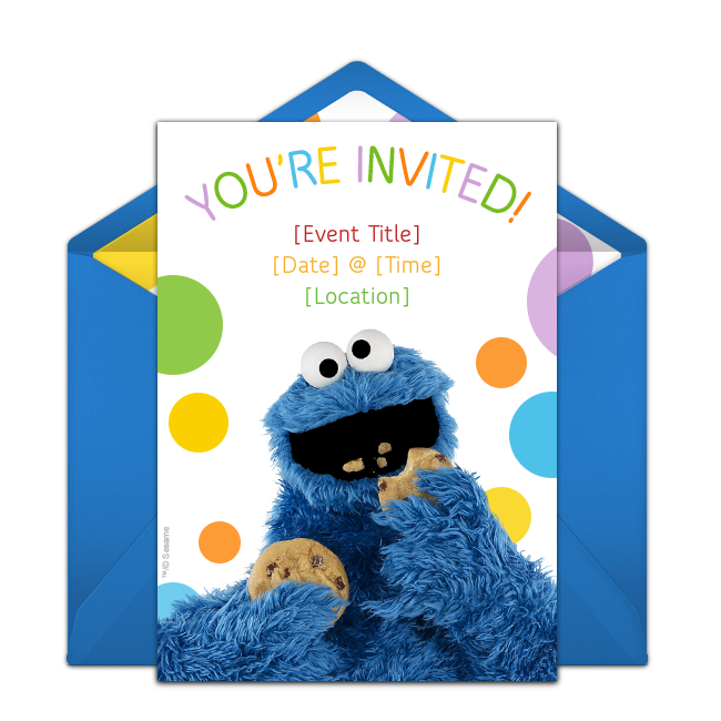 Free Cookie Monster Invitations In 2020 Monster