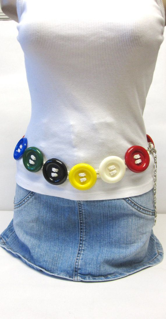 Button Belt Silver Chain Waist Red Blue Yellow by sweetie2sweetie