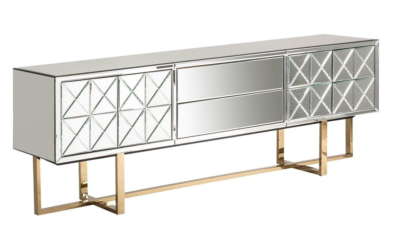 Hauteur Meuble Tele meuble tv 2 portes 2 tiroirs miroir et pieds métal doré